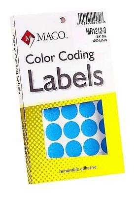 WHOLESALE 4 PKG MACO LT BLUE ROUND COLOR CODING LABELS, 3/4