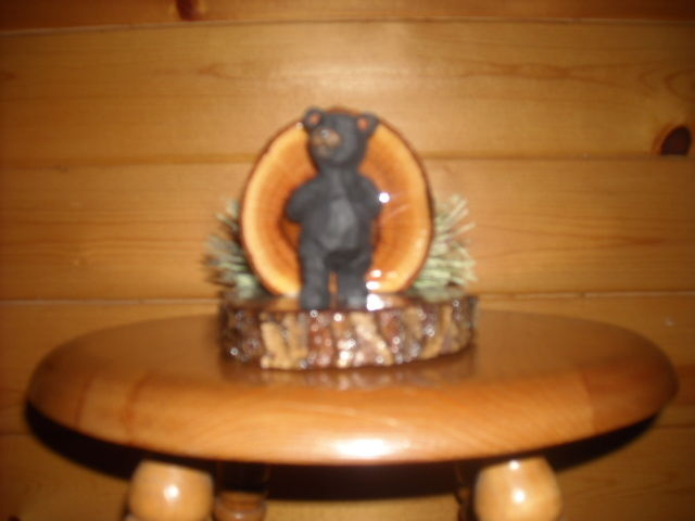 Rustic Log Cabin Furniture Lodge Oak NAPKIN HOLDER/LETTER HOLDER Standing BEAR