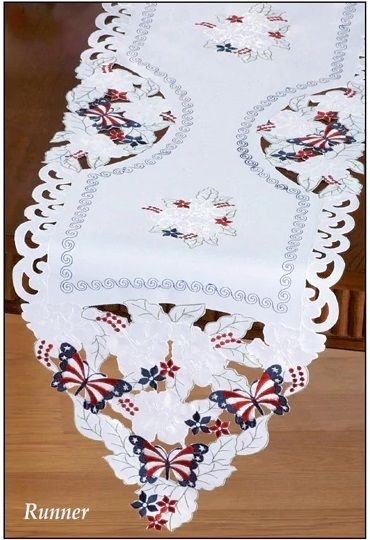 Patriotic Red White Blue Butterfly Kitchen Table Topper Runner 4th of July Decor