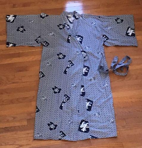 Japanese Men's Cotton Yukata Kimono Robe ~ Size 50 ~ Blue And White ~ Vintage