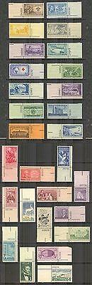 US # 995/1133, 1950-1959 Commemoratives - 28 Different Plate# Singles, Unused