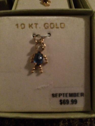10 Karat Gold Mothers Charm, Birthstone September, Boy, Sapphire, New Inbox
