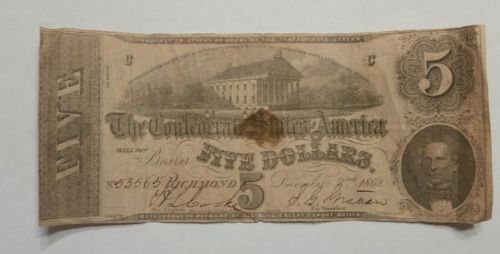 1862 Confederate States Five Dollar Bill $5