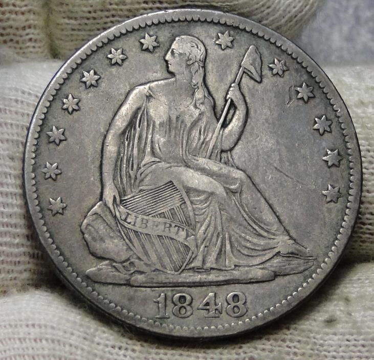 1848-O Seated Liberty Half Dollar 50 Cents.  Nice Old Coin Free Shipping (5862)