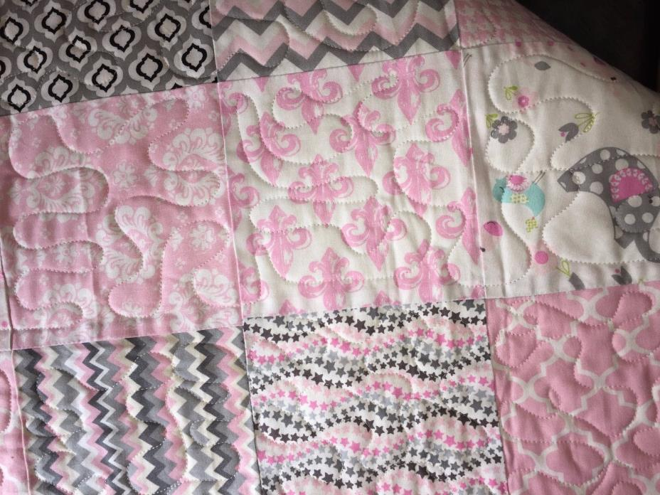 Handmade Personalized Quilted Pink/Gray Baby Lap Blanket infant nursery Quality