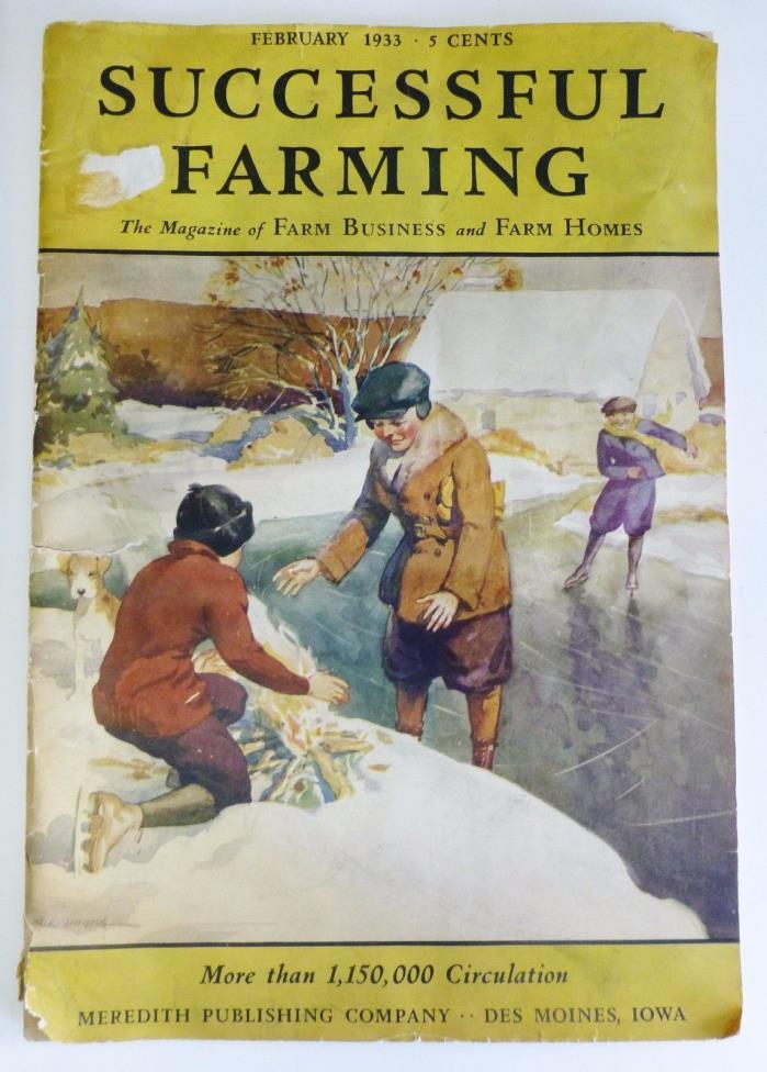 Vintage Successful Farming Magazine 1933 Advertising Chevrolet Livestock