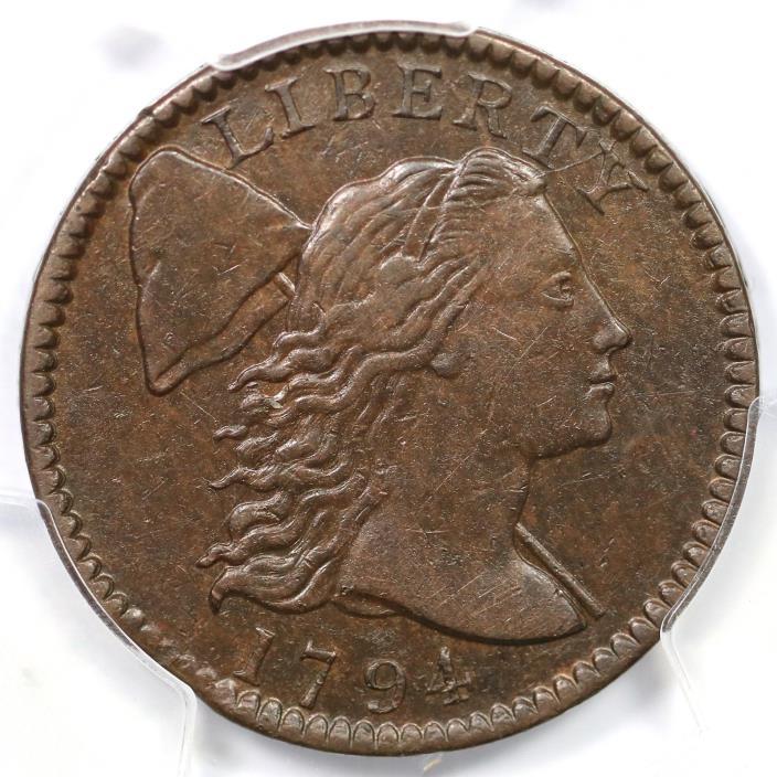 1794 S-72 PCGS AU 53 Head of 1794 Liberty Cap Large Cent Coin 1c Ex; Koshkarian
