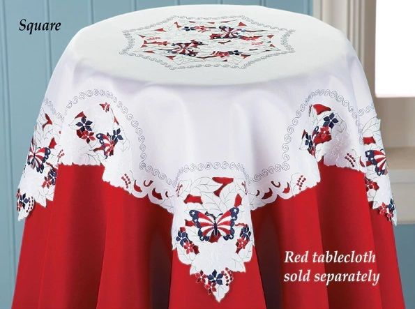 Patriotic Red White Blue Butterfly Kitchen Tablecloth Topper 4th of July Decor