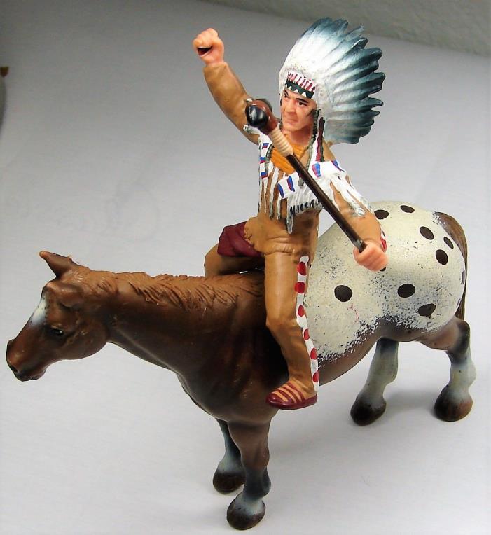 Papo Indian Schleich Horse Paint Warrior Figure Toy Vintage Retired