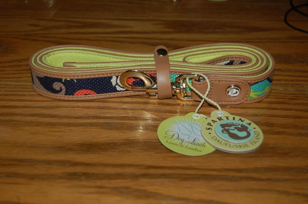 Spartina 449 Dog Leash, Linen and Leather, Amelia,New with Tags,