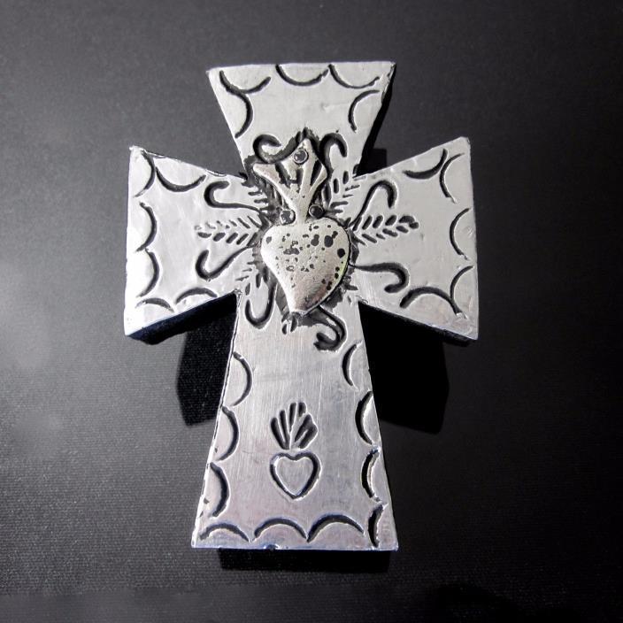 SACRED HEART TIN MILAGRO Mexican Handmade Folk Art Wood Cross Wall Ornament
