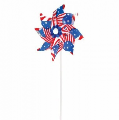 Stars And Stripes - American Flag Pin Wheels - 12 Pack