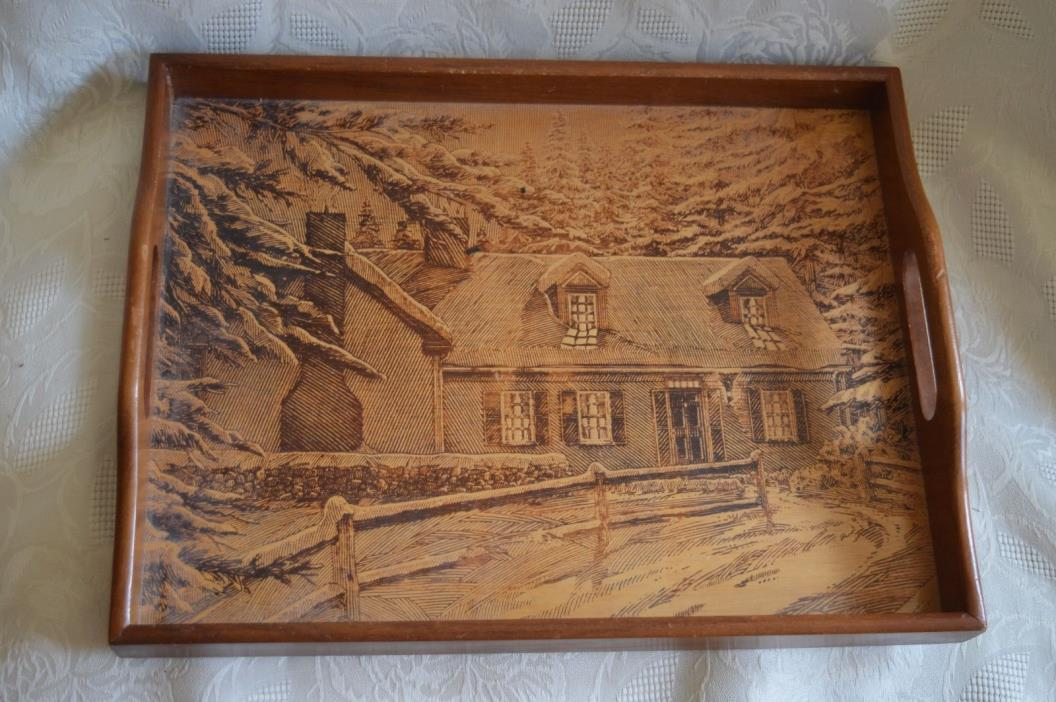 Vintage Pyrography TRAY House in Snowy woods 11
