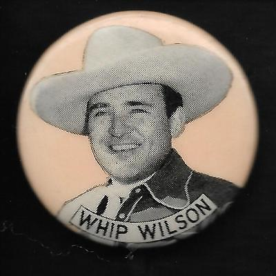 Vintage Movie Pinback Button Badge Pin 1950's Famous Movie Cowboy Whip Wilson