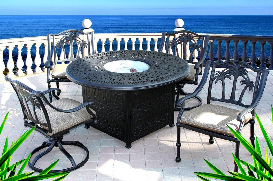 Propane Fire Pit Outdoor Dining Set 5pc Cast Aluminum Patio Table / Chair Bronze