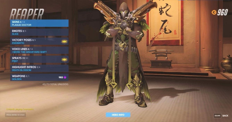 overwatch account,lvl 217, widowmaker full legend skins, 2 golden weapons