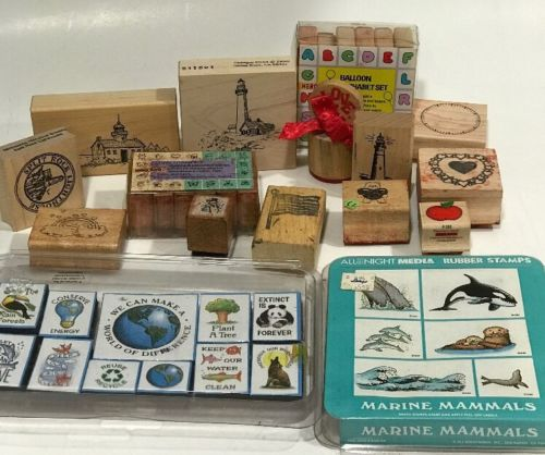 Lot Of New And Used Rubber Stamps