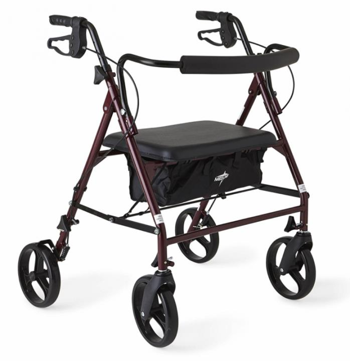 Medline Heavy Duty Bariatric Rollator Walker with 8