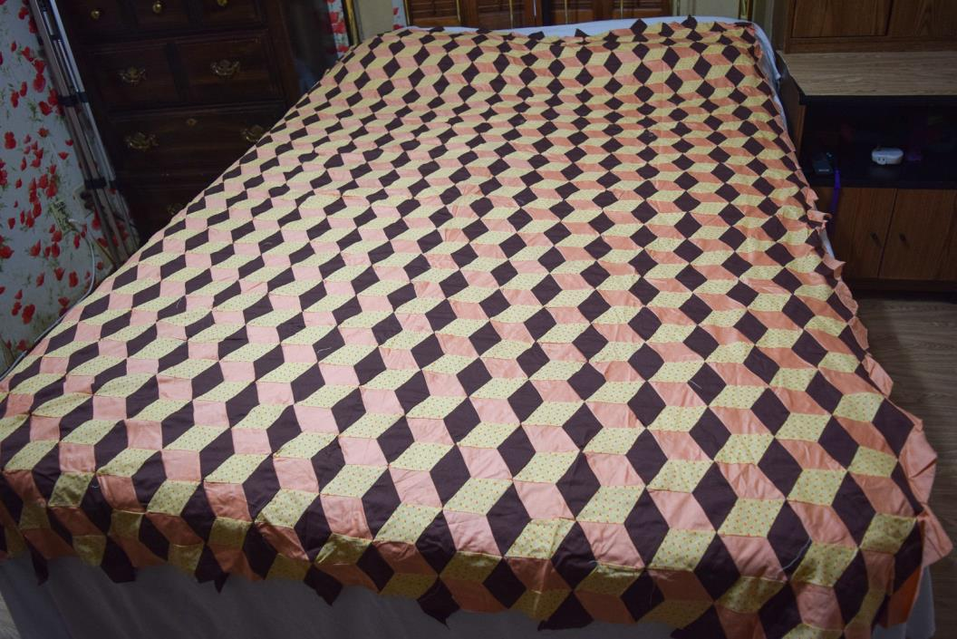 Vintage Brown & Peach - Tumbling Blocks - Quilt Top 81