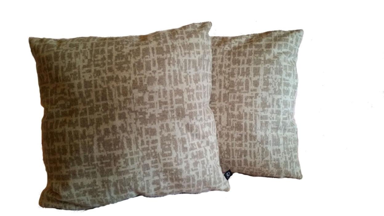 2 Very Soft Pillow Covers Pollack Dapper Wool Birch Bark - B3