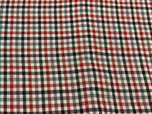 2 1/2 YARDS OF VINTAGE BLACK, GREY, RED & WHITE PLAID COTTON FABRIC