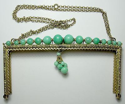 Vintage Brass Purse Frame w/ row of soft green stones from Haertig collection