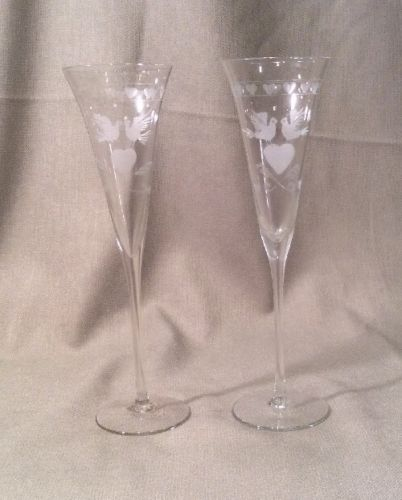 Vintage Pair Of Wedding Champagne Flutes Etched Doves & Hearts