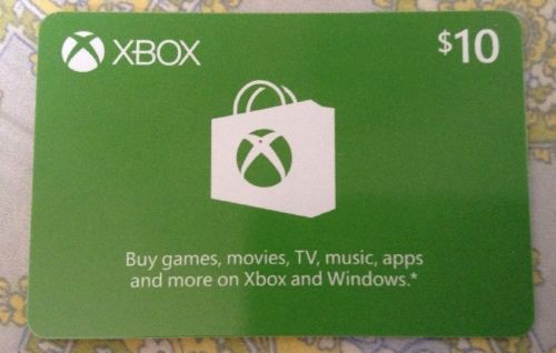 $10 Xbox Gift Card-By Mail only.