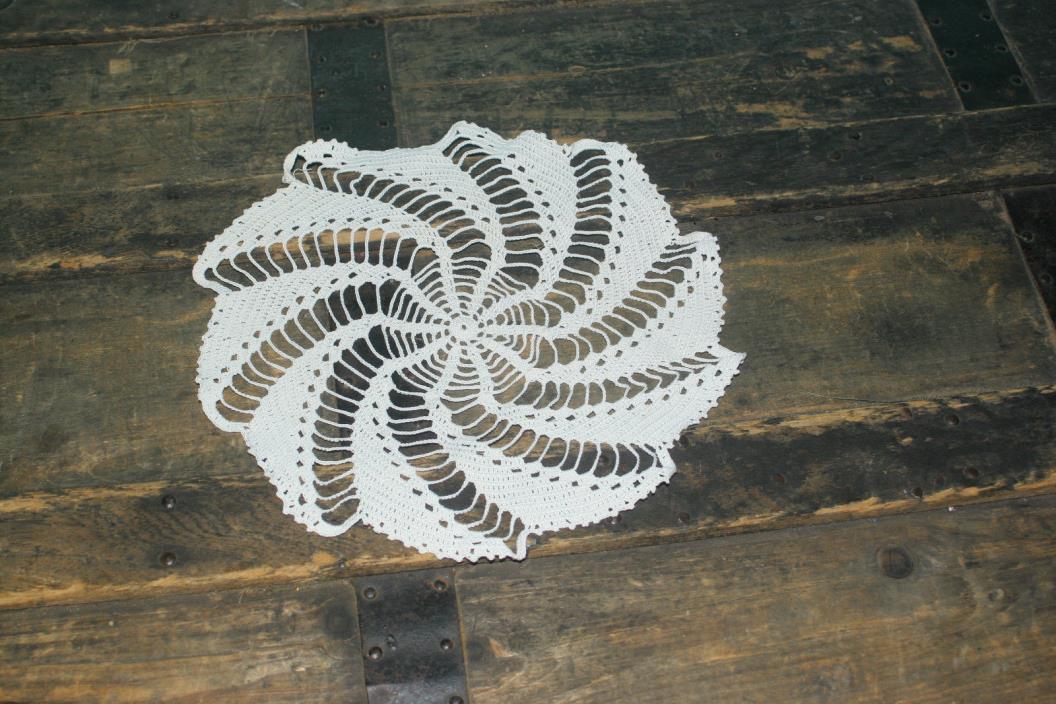 Vintage Crochet Doily White Round 9