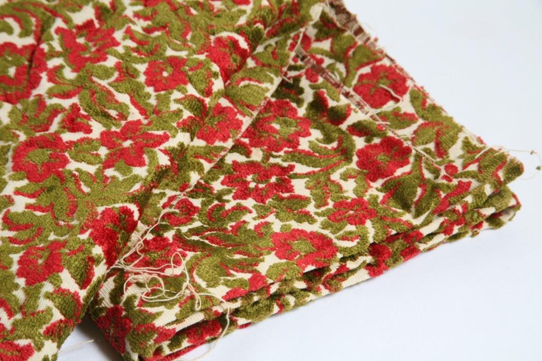 Vintage Cut Velvet Red Floral Roses Bags Upholstery Pillows Tapestry Fabric 54 W