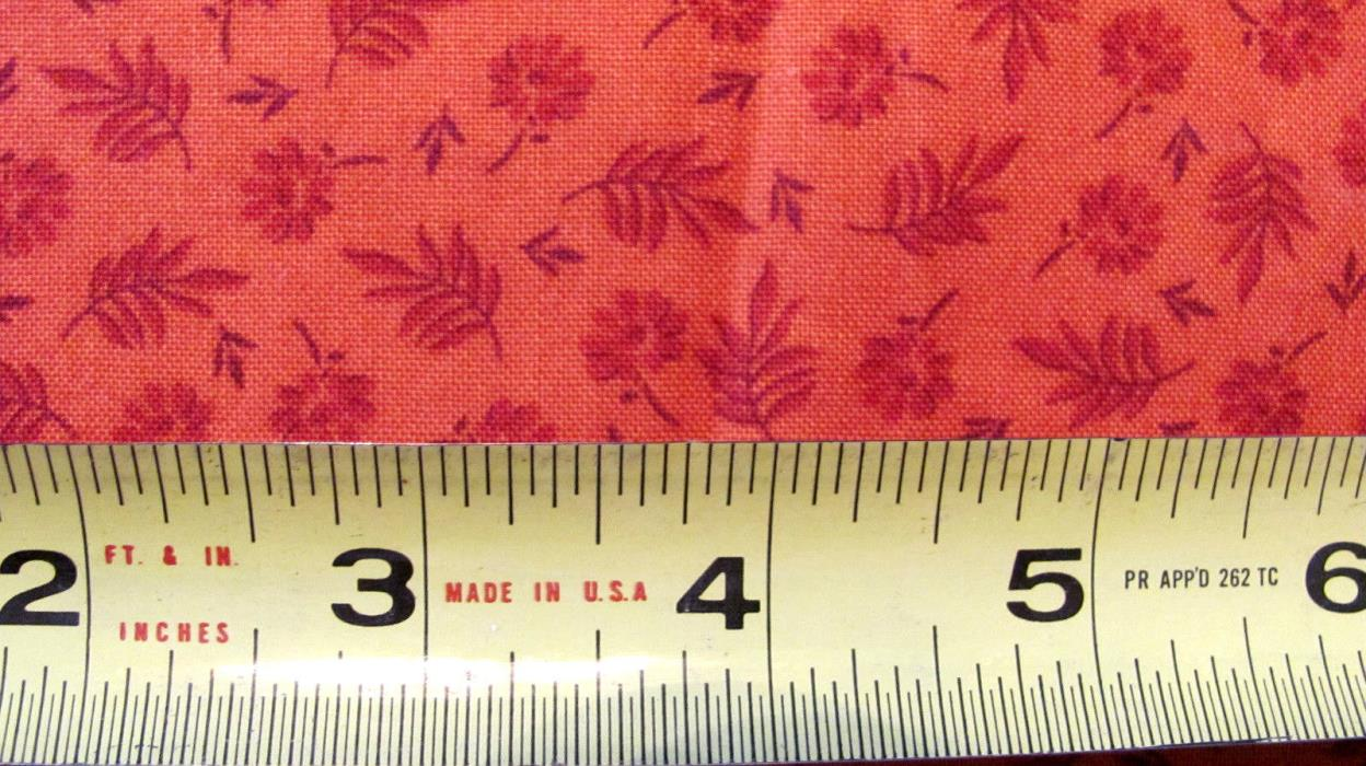 Brick Red Small Print Cotton Fabric Doll Quilt Projects 45x25+ David Textiles