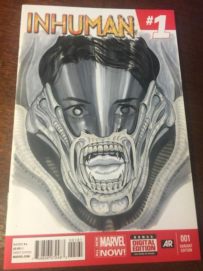 Comic Book Comics - MARVEL - Inhuman #1 Original Art Sketch Cover Alien Signed