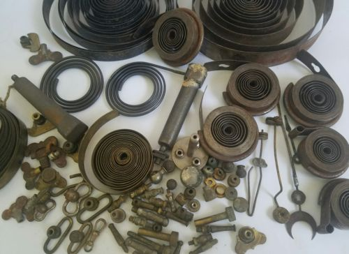 Vintage Lot of  Clock Parts steampunk springs dials brass repair mixed lot 60 p