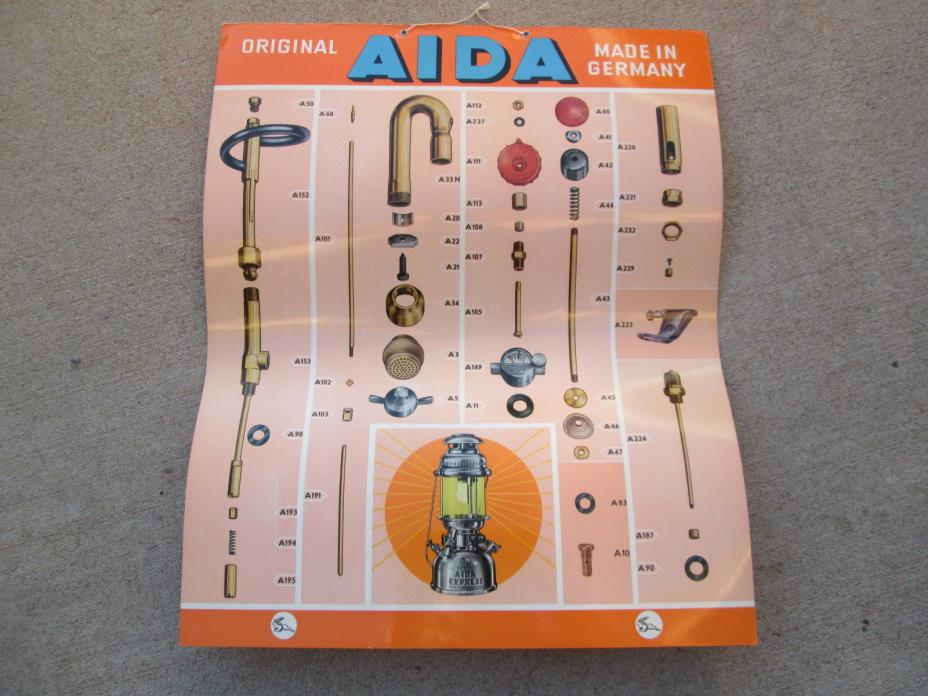 Vintage Aida Lantern stove Germany Sign petromax laminated poster parts display