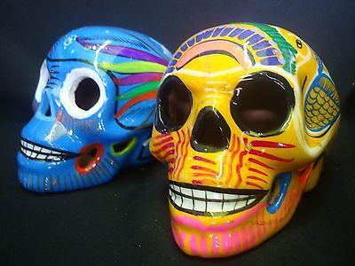 Lot of 2 day of dead Sugar Skulls, Mexican art, Talavera, catrina, muertos, wall