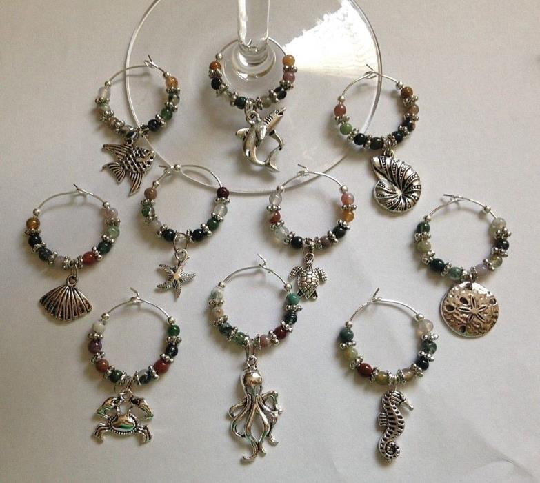 beach sea life wine glass charms set of 10