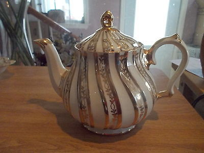 Vintage SADLER Gold & Cream Teapot