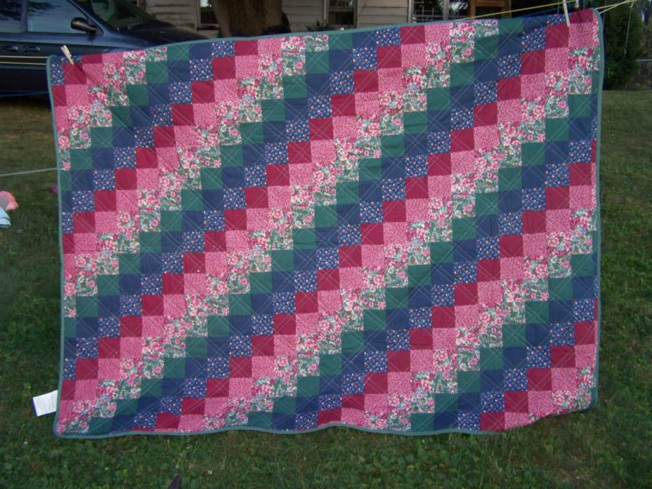 Lightweight Diagonal Squares quilt, bedspread; red, blue, green squares;
