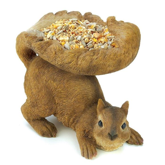 Realistic SQUIRREL Figurine Outdoor BIRD Seed FEEDER Garden STATUE Yard DECOR