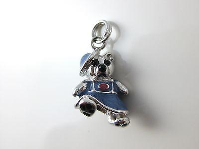 Blue Enamel Sterling Silver Bear Charm Pendant In Dress