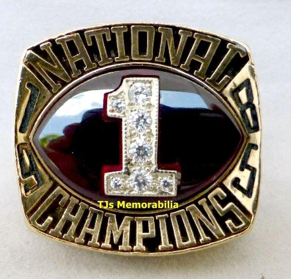 1985 OKLAHOMA SOONERS NATIONAL CHAMPIONS CHAMPIONSHIP RING PLAYER 10K GOLD
