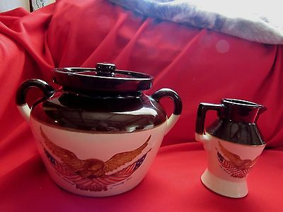 Vintage 1970's AVON BEAN POT & SMALL PITCHER Stencil Carved Wood Eagle D.C.