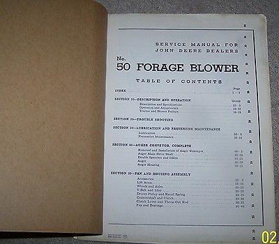 John Deere 50 Forage Blower Service Manual Used B4