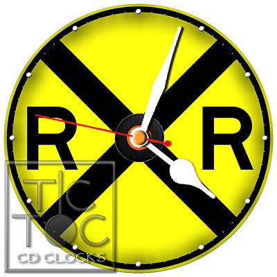 S-986 CD CLOCK-RAILROAD CROSSING SIGN- DESK OR WALL CLOCK-FAST FREE SHIPPING