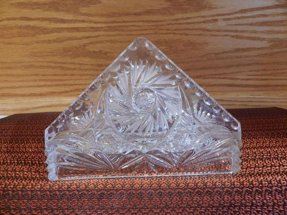 VINTAGE CRYSTAL CUT GLASS NAPKIN HOLDER