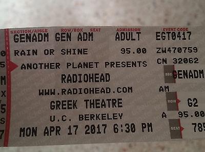 Radiohead Greek Theatre Berkeley Mon April 17