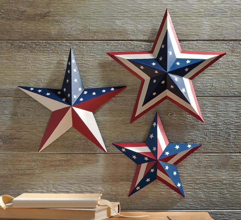 Set Of 3 Patriotic Barn Stars and Stripes Wall Hangings Home Decor 4th of July