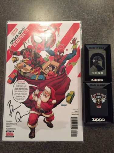 Tell Em Steve Dave Brian Q Quinn Deadpool Signed Comic Zippo Lighter Bundle