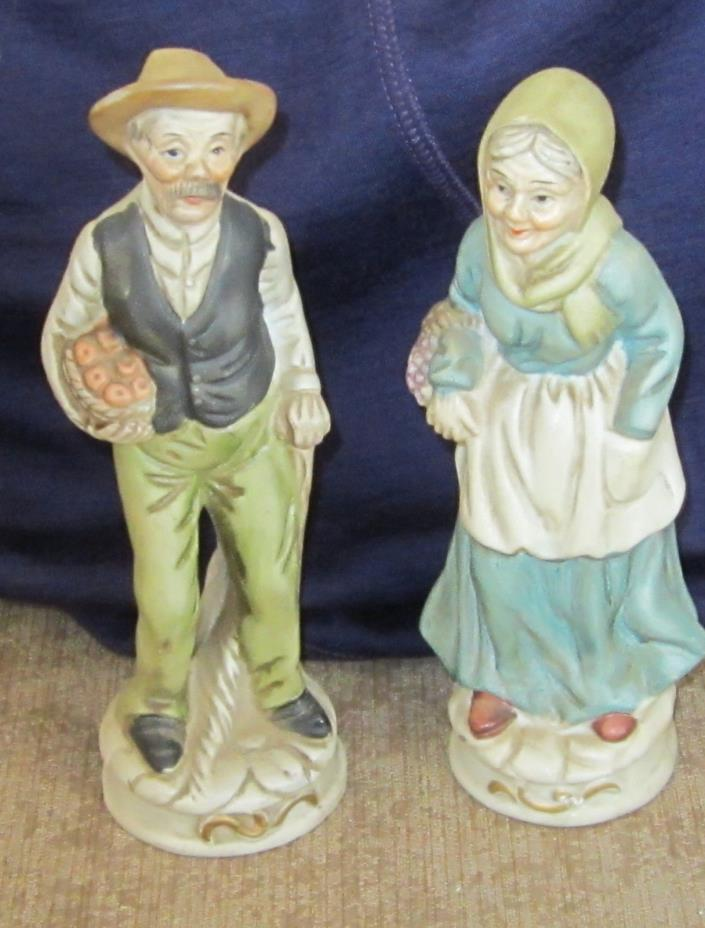 Set Vintage BISQUE Figures FARMER & WIFE - Home Interiors
