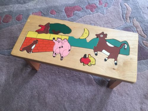 Children's Wooden Puzzle Bench Farm Animals Museum of Fine Arts Boston Furniture
